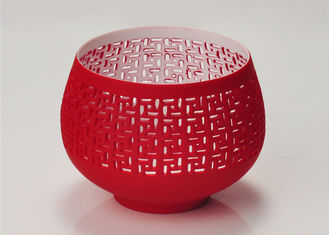 Red Votive Porcelain Candle Holder Bowl / Hollow Ceramic Candle Houses