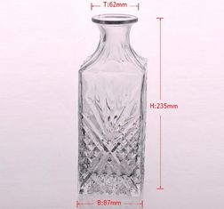 Embossed Clear Glass Recycle Wine Bottles With Cork Lid Eco Friendly