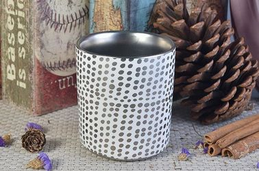 Printed Ceramic Recycled Candle Containers , Ceramic Candle Jars OEM Service