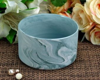 Handmade Marble Candle Container / Candle Holders Recyclable for decoration